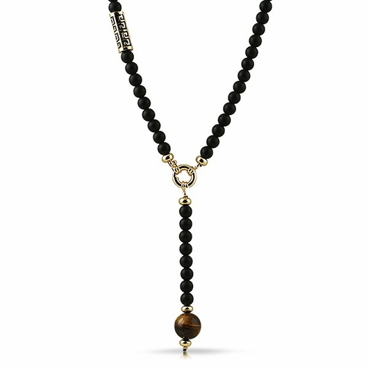 Gold Greek Link Tiger Eye Rosary Black Necklace
