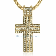 Gold Iced Out Cross & Chain Small