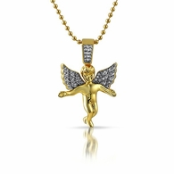 Gold Iced Out Micro Angel Pendant