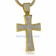 Gold Jagged Ice Bling Bling Cross
