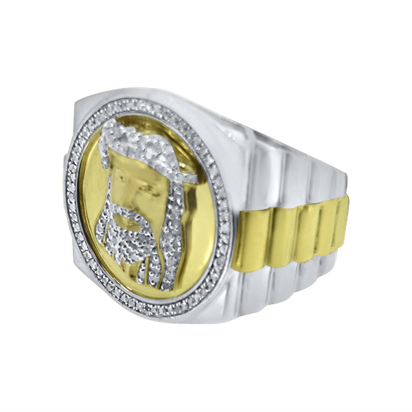 Gold Jesus 2 Tone Real Diamond Ring 925 Silver 925 Silver