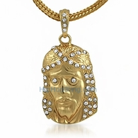 Gold Jesus Piece Pendant & Chain Small