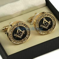 Gold Masonic Bling Bling Cuff Links