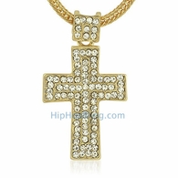 Gold Mega Bling Bling Cross & Chain Small