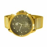 Gold Mesh Band Polished Hip Hop Watch