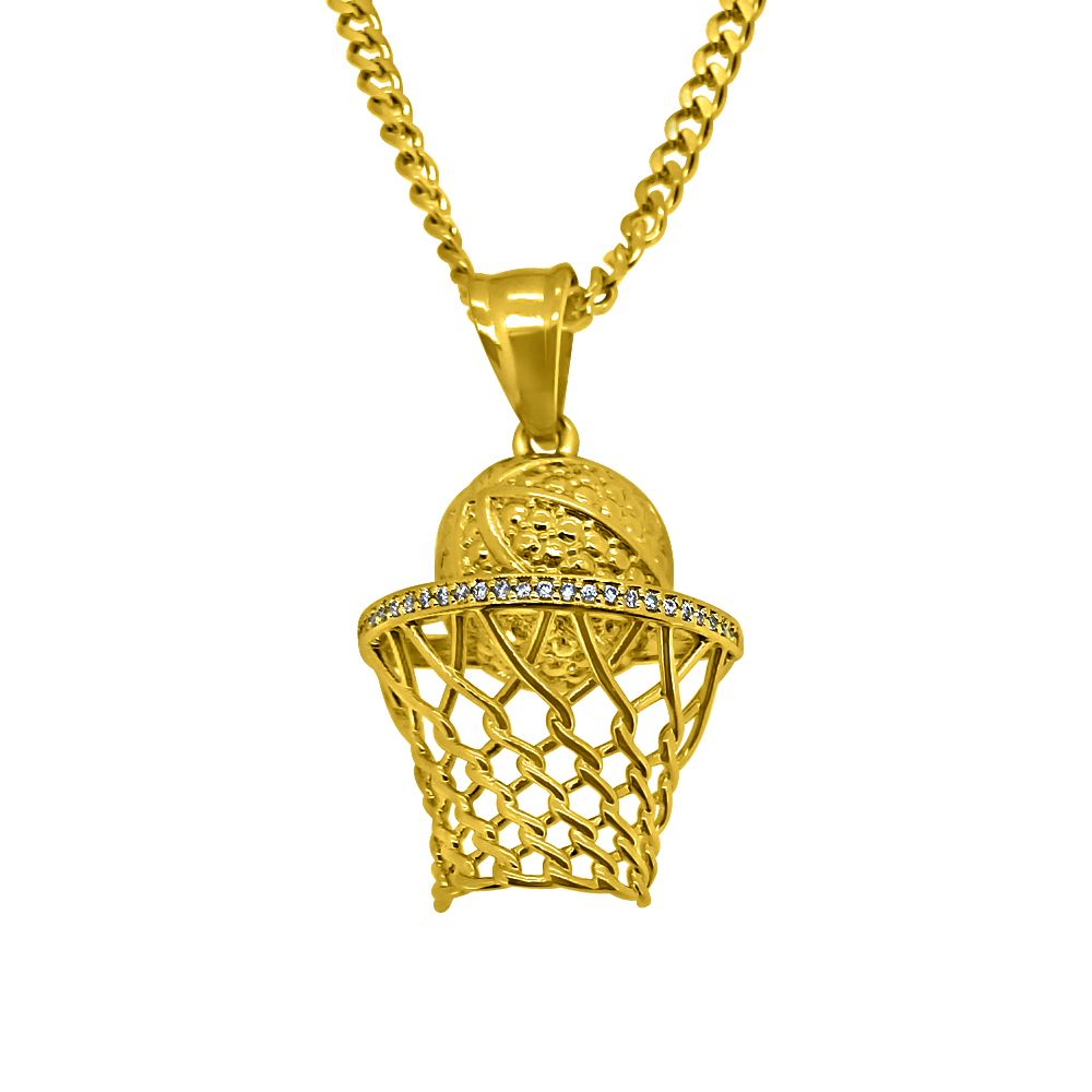 gold micro basketball hoop hip hop pendant new hip hop