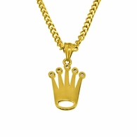 Gold Micro Crown Hip Hop Pendant