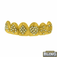 Gold Poker Grillz Top Teeth