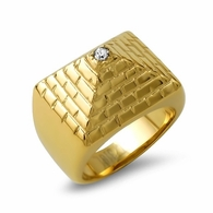 Gold Pyramid Stainless Steel CZ Ring