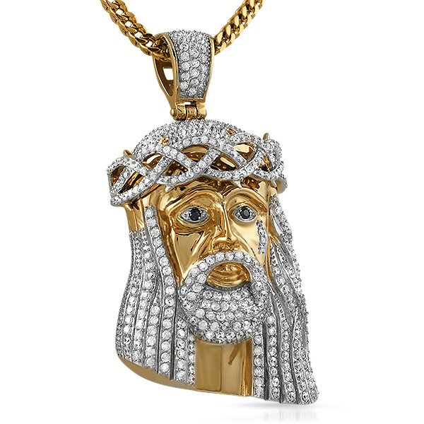 Gold steel cz bling bling jesus piece large micro jesus pendants gold steel cz bling bling jesus piece large aloadofball Image collections