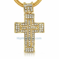 Gold Thick Bling Bling Cross & Chain Small