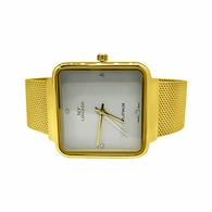 Gold with White Dial Square Mesh Band Watch