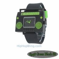 Green Boombox Urban Hip Hop Watch