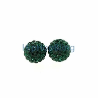 Green Iced Out 8mm Disco Ball Bling Bling Earrings