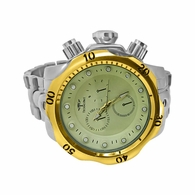 Heavy Deep Divers Fashion Silver Watch Gold Bezel