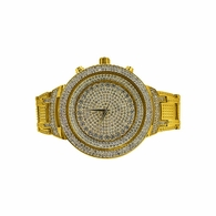 Hip Hop Bling Bling Gold Watch Bracelet Set