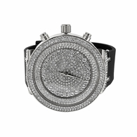 Hip Hop Bling Bling Silver Watch Black Rubber Strap