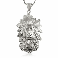 Hip Hop Indian Chief Pendant Stainless Steel