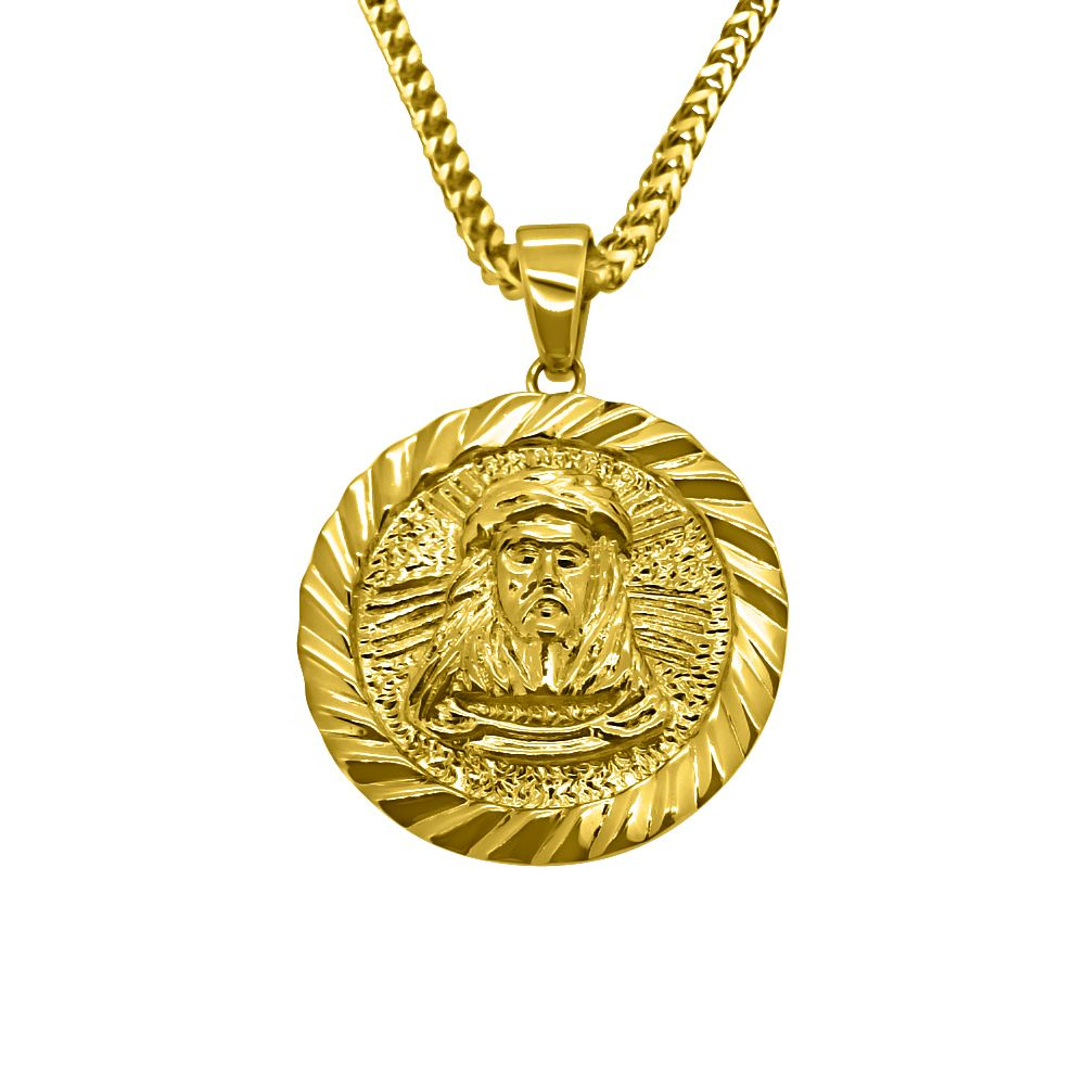 Hiphopbling gold jesus piece medallion gold pendant sets hhbp06g hiphopbling gold jesus piece medallion aloadofball Image collections