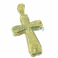 Hot Lemonade Iced Out Cross Gold CZ Micropave Pendant