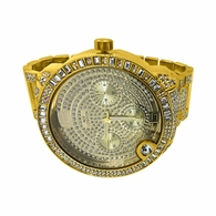 Huge Baguette Bezel Gold Bling Bling Watch