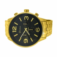 Huge Black Face Gold Fashion Watch