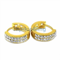 Huggie 2 Row Gold Bling Bling Earrings