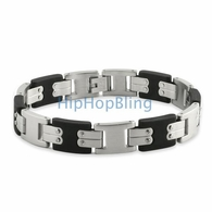 I Link Rubber & 316L Steel Fashion JoJino Bracelet