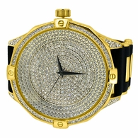 Ice Level Dial Gold Bling Bling Watch Black Band