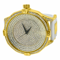 Ice Level Dial Gold Bling Bling Watch White Band