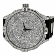 Ice Level Dial Silver Bling Bling Watch Black Band