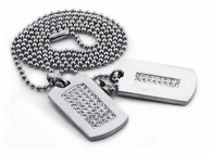 Iced Out 2 Dog Tag Set Rhodium