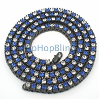 Iced Out Chain Blue & White on Black Checkered Bling