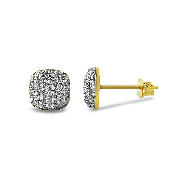 Icey Gold Bling Bling Cz Earrings Custom Gold Micro Pave