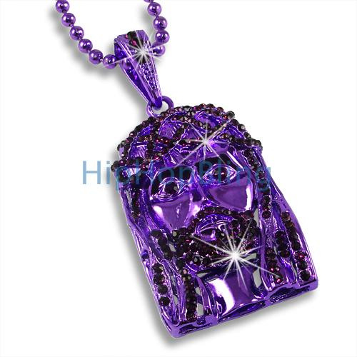 Jesus Piece Purple Iced Out Pendant & Rosary Chain
