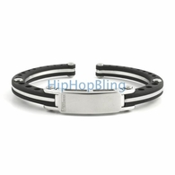 JoJino 316L Stainless Steel Rubber Bracelet Bangle