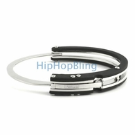 JoJino 316L Steel & Rubber Bangle Bracelet
