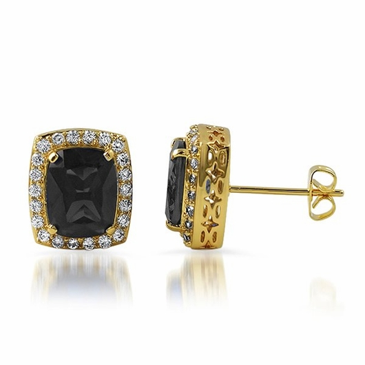 Lab black diamond centerstone gold iced out earrings for Custom lab made hip hop jewelry