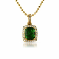 Lab Made Green Emerald Gem Bling Bling Pendant