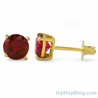 Lab Ruby Round Cut Stud Earrings Gold .925 Silver