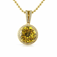 Lab Yellow Diamond Round Halo Gem Pendant