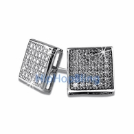 Large Box CZ Micro Pave Bling Bling Earrings .925 Silver