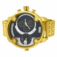 Large Gold Heavy Dual Timezone Gold Watch