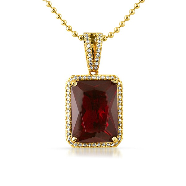 large lab ruby rectangle gem bling bling pendant gem