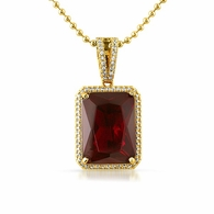 Large Lab Ruby Rectangle Gem Bling Bling Pendant