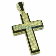 Large Lemonade Black Border Iced Out CZ Micro Pave Cross