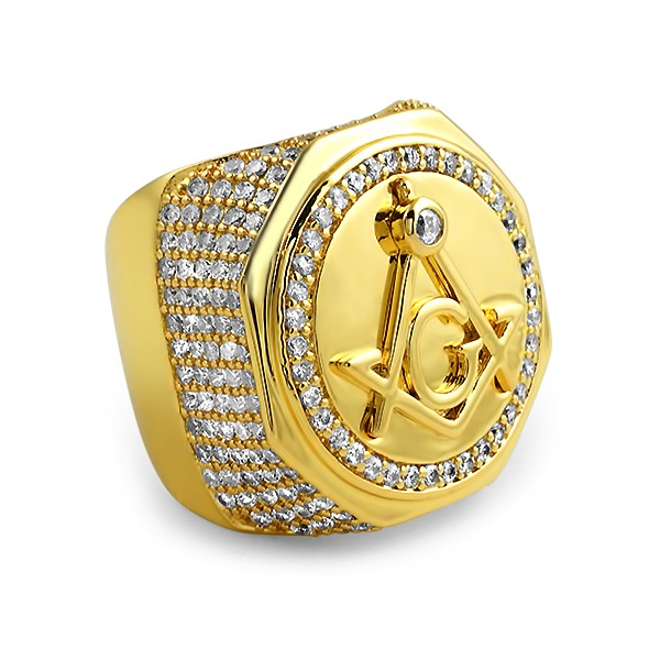 Masonic CZ Gold Plated Mens Ring Gold CZ Iced Out Rings