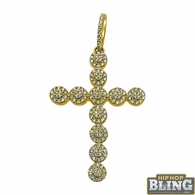 Larger 14K Gold 1.55cttw Diamond Cluster Cross