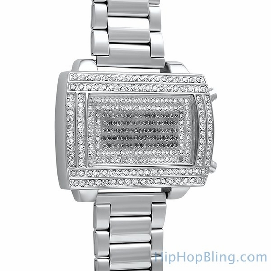 LED Digital Block Face Silver Metal Band Watch