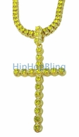Lemonade 1 Row Cross & Chain Hip Hop Jewelry Set